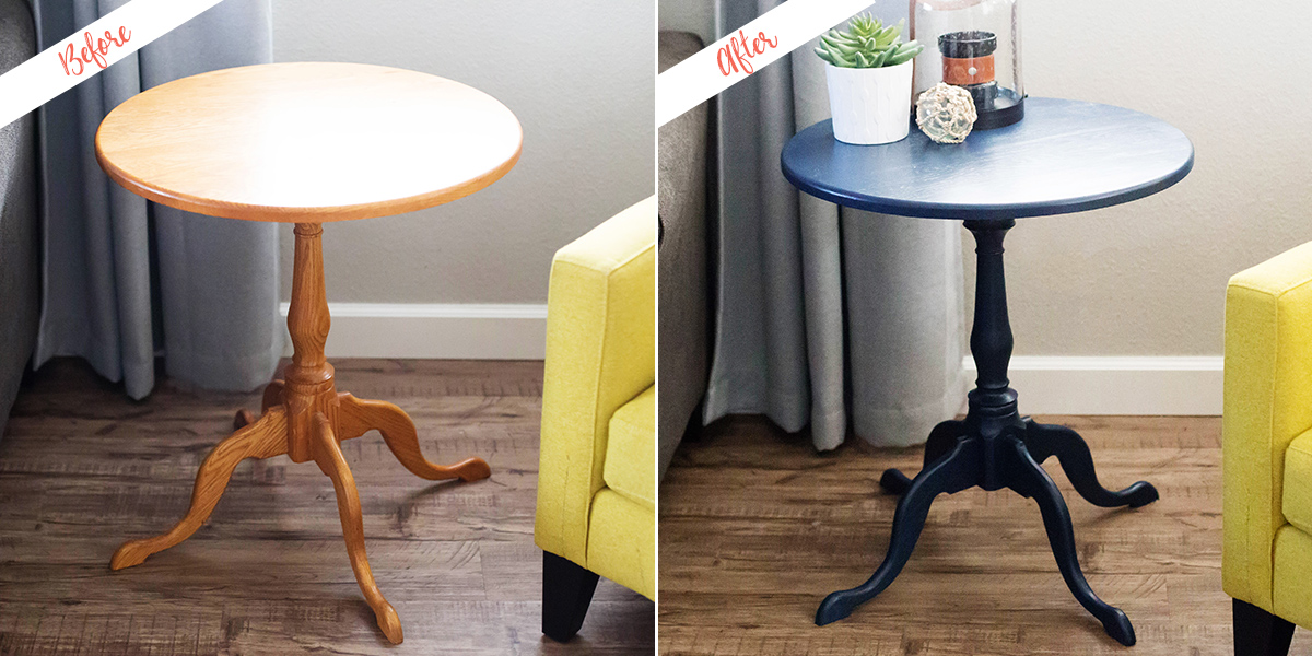 Side table, before and after