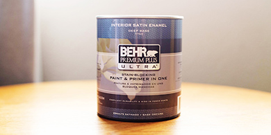 Gallon can of BEHR PREMIUM PLUS ULTRA paint