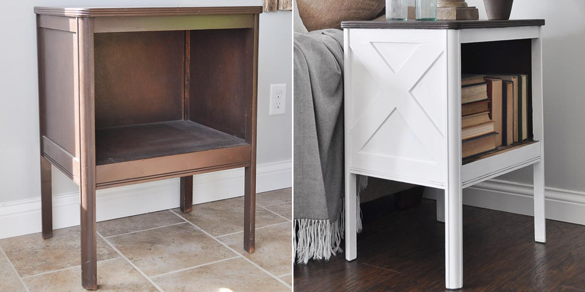 Before and After Farmhouse Side Table Image