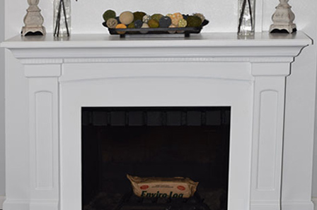 Finished fireplace mantle