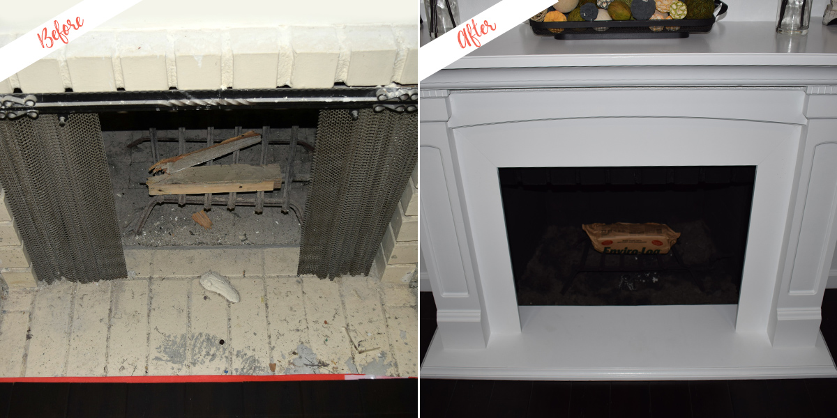 Fireplace mantle, before and after