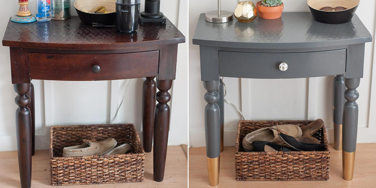 Before and After Entryway Table, Scandinavian Style