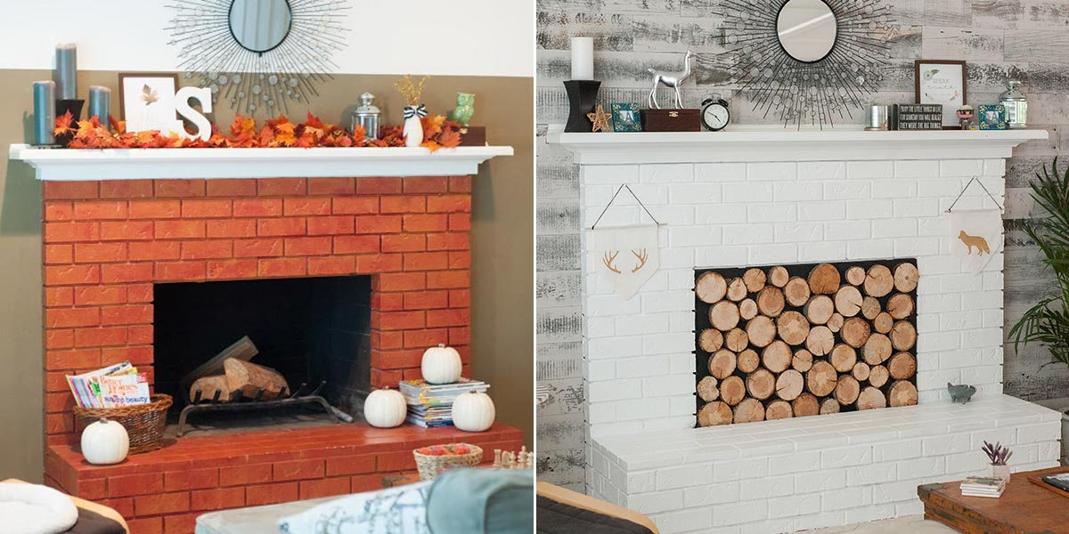 Before and After Fireplace Rustic Update