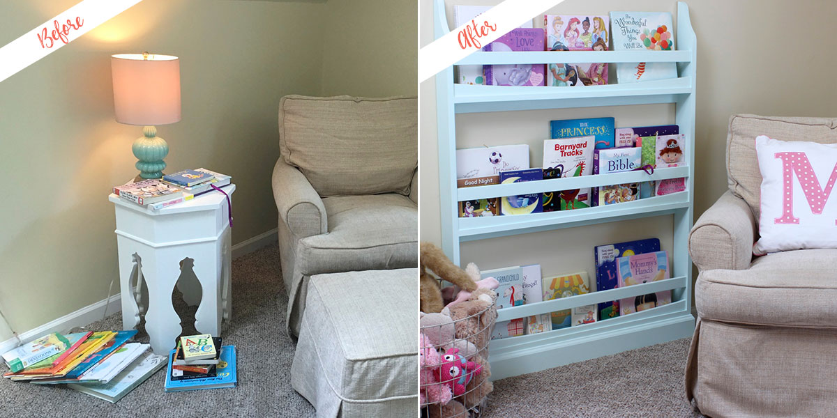 Bookshelf project, before and after