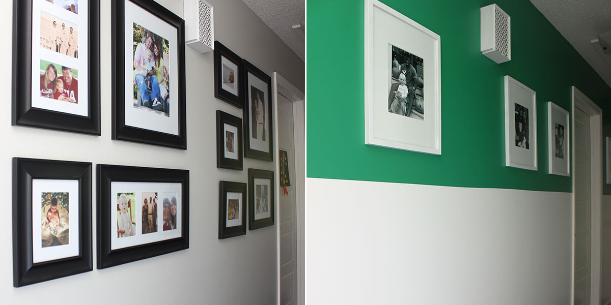 Before and After of hallway, vibrant green accent about wainscoting
