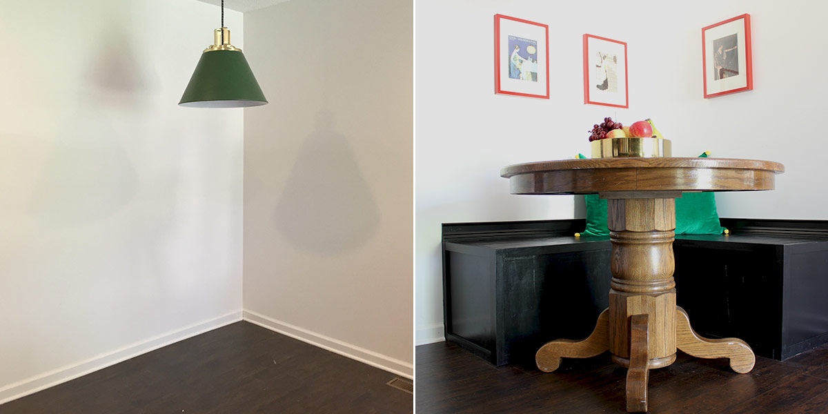 Before and After of Kitchen eating nook with DIY banquette