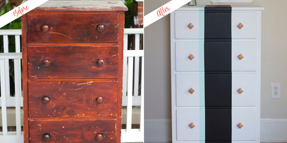 Refinished Chest, before and after