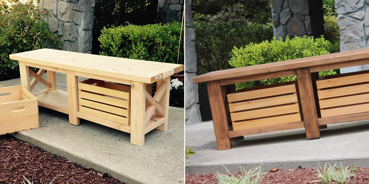 Before and After of stained outdoor bench