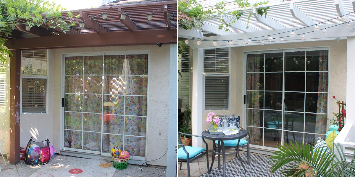 Before and After of Refreshed Outdoor Pergola