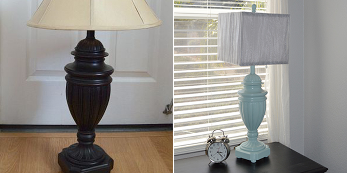 Before and After of a table lamp, painted pale blue