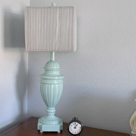 Finished lamp on nightstand