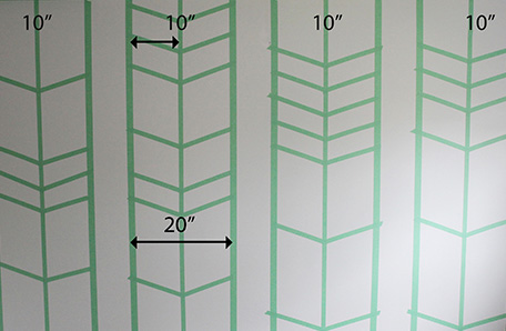 Taping stencil for arrows