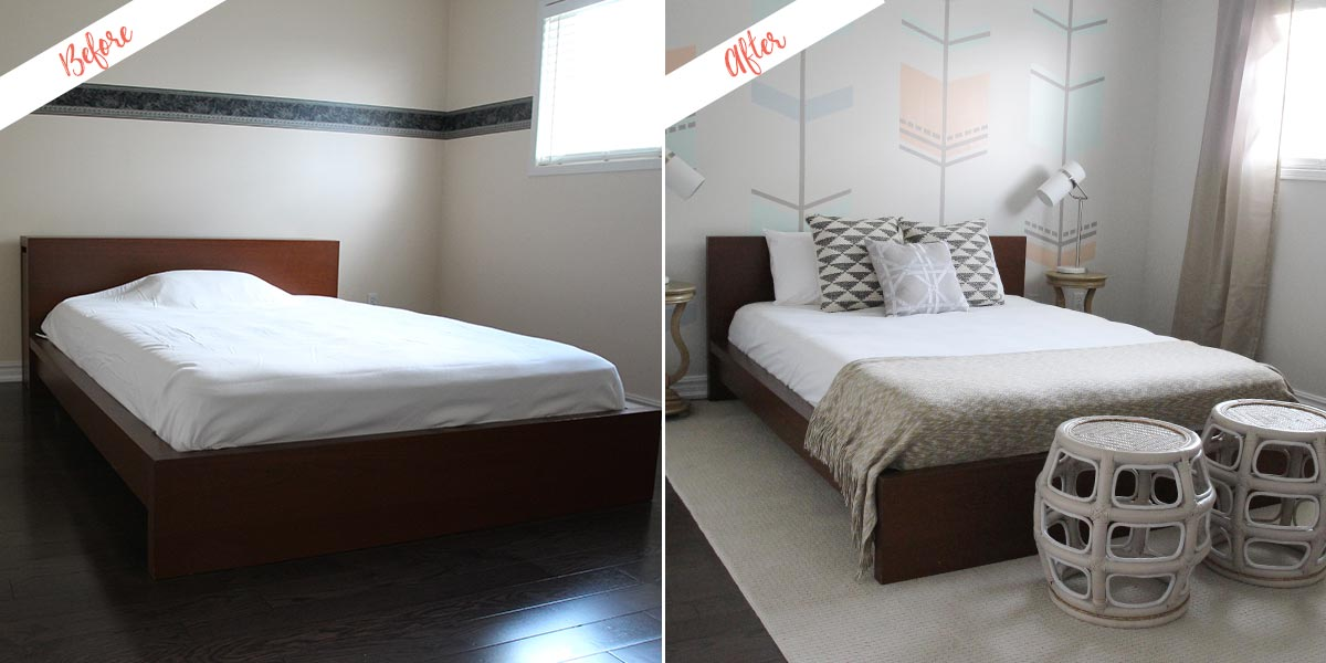Bedroom Makeover project, before and after
