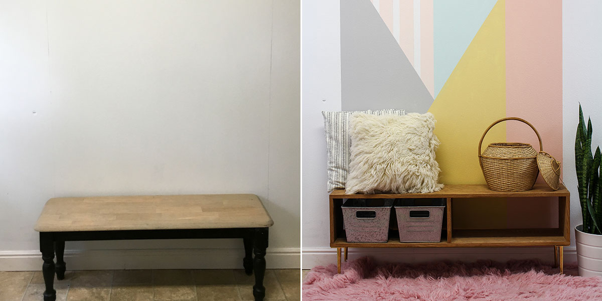 Before and After of Entryway Accent wall, painted with bright geometric pattern