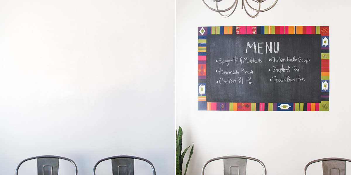 Before and After of Chalkboard, with trim painted with Turkcish-style motif