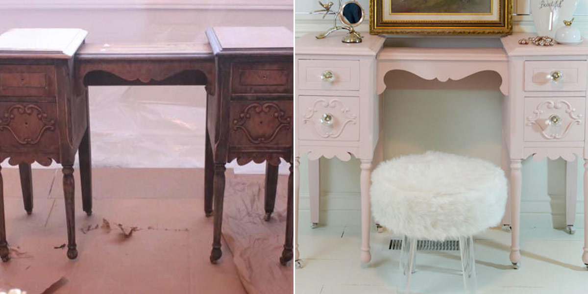 Before and After of vanity dressing table, painted pale pink
