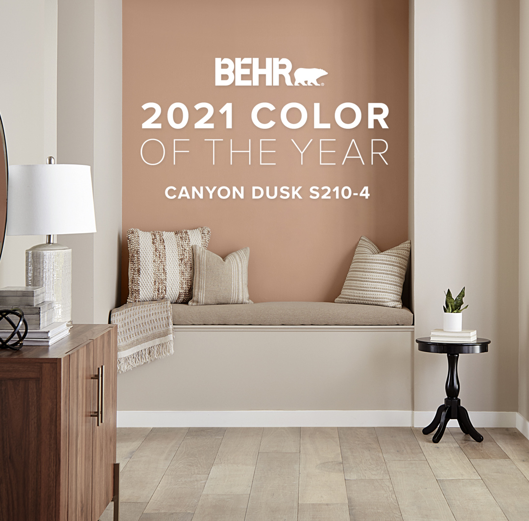 Mobile-sized Banner image of reading nook painted in Canyon Dusk, featuring Behr Color of the Year.