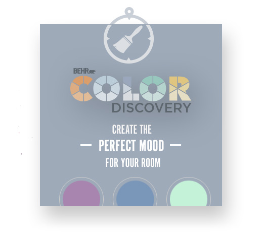 Behr Color Discovery text with three circles and a paint brush