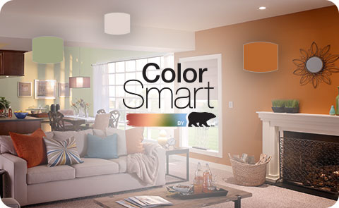ColorSmart by Behr logo with an orange living room in the background