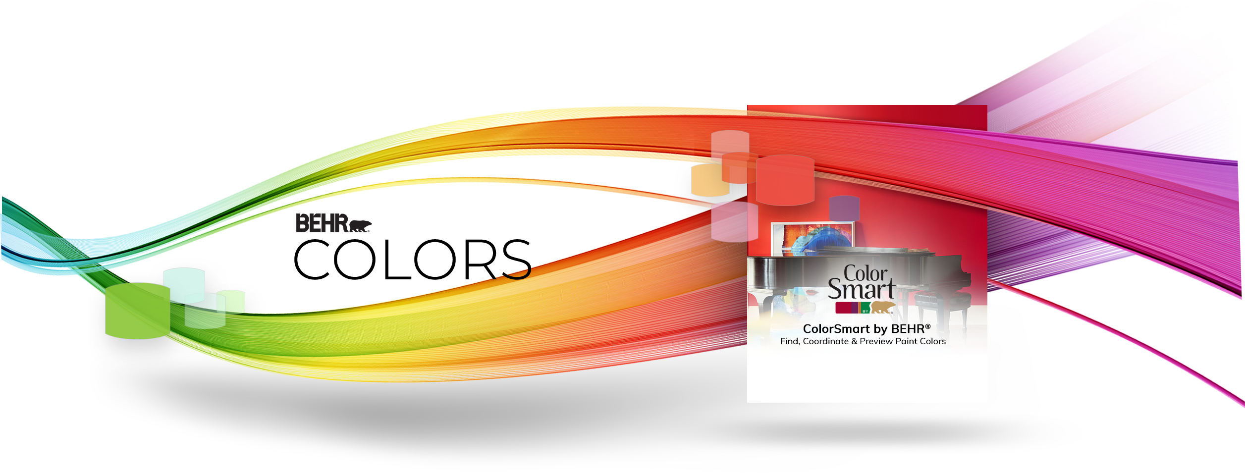 Creative image of ribbons of color sweeping across the page, winding around ColorSmart logo.