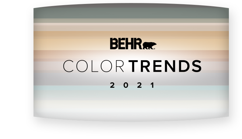 2021 Color Trends logo with colors in each of the trend colors in the background.