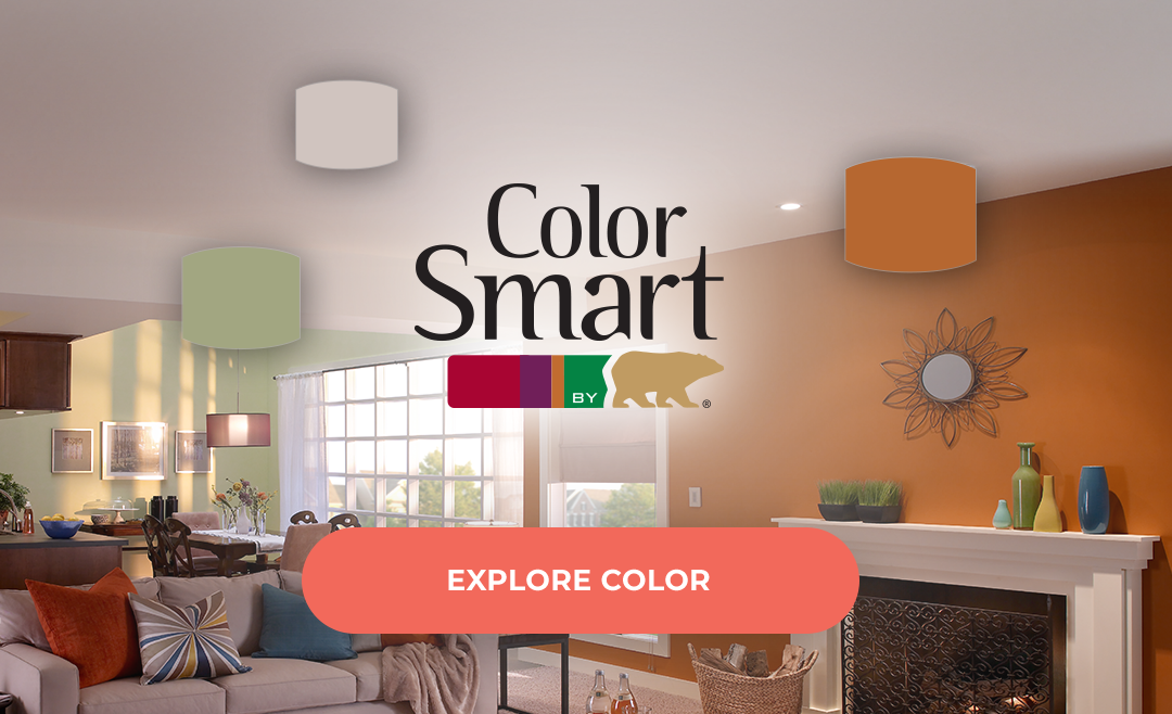 Color Smart by Behr with orange living room in the background