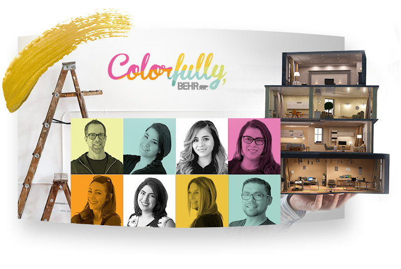 Colorfully Behr text with 8 people's head shots and ladder in the background