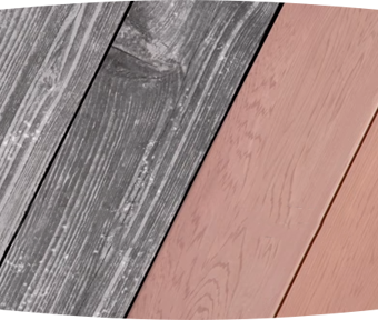 Close up of a deck with one half being old wood and the other half being newly stained