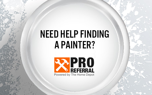Need help finding a painter? text with an open can of paint in the background