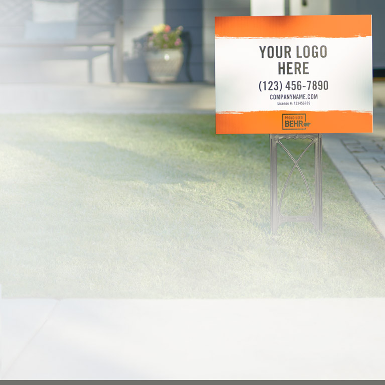 Mobile view of an image with a pickup truck in the background with BEHR co-branded sign on the truck
