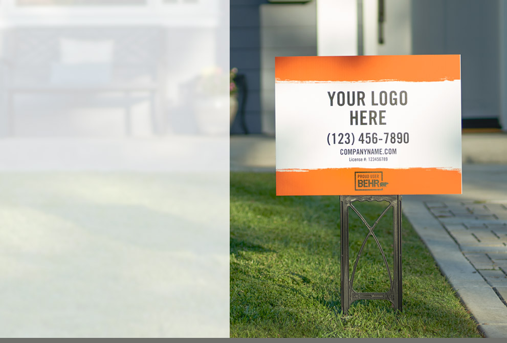 Tablet view of an image with a pickup truck in the background with BEHR co-branded sign on the truck