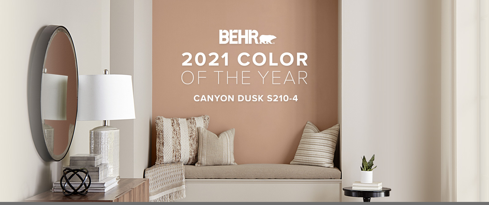 Image with the words BEHR 2021 Color of the Year is Canyon Dusk