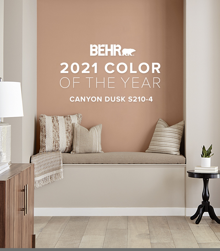 Mobile view of an image with the words  BEHR  2021 Color of the Year is Canyon Dusk with the color in the background