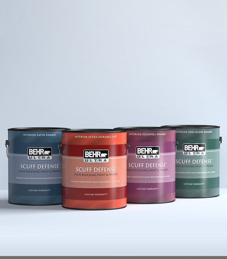 Mobile view of a 1 gallon can of BEHR ULTRA SCUFF DEFENSE on a gray background.