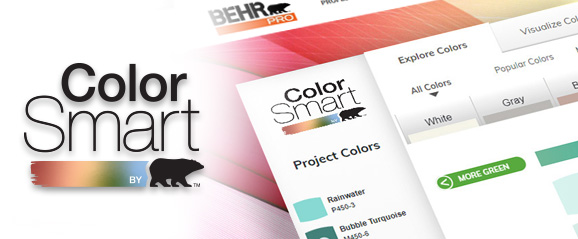 A screenshot of the BEHR ColorSmart tool in the background and the logo on the foreground. The image of the tool has different color tabs and is displaying the green tab with several color chips.