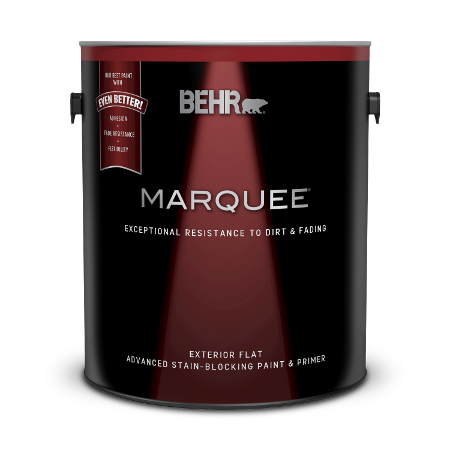 Can of Behr Marquee exterior flat paint and primer