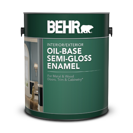 Can of Behr interior and exterior oil base semi-gloss enamel