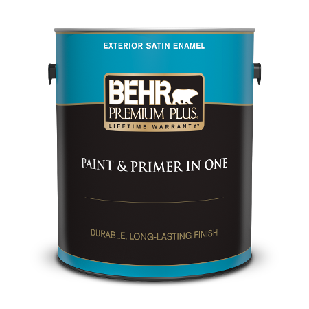 Can of Behr paint and primer in one exterior satin enamel