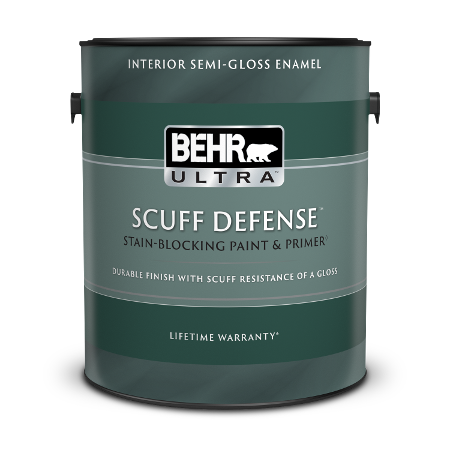 1 gal can of Behr Ultra Scuff Defense Interior Semi-Gloss paint