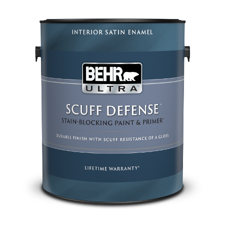 1 gal can of Behr Ultra Scuff Defense Interior Satin Enamel paint