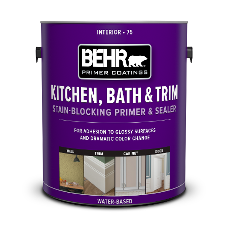 Can of kitchen, bath & trim stain blocking primer and sealer