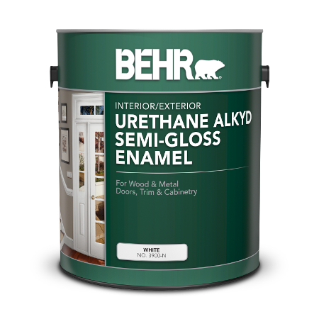 Can of Behr urethane alkyd semi-gloss enamel
