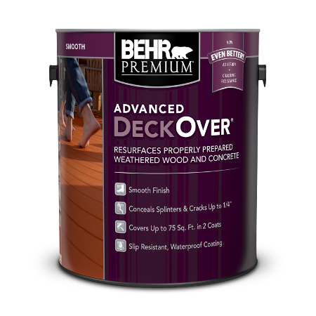 Can of advanced deckover paint