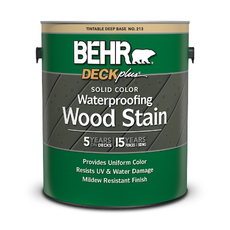 1 gal can of Behr DeckPlus Solid Color Wood Stain.