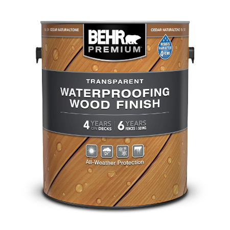 1 gal can Behr Premium Transparent Waterproofing Wood Finish