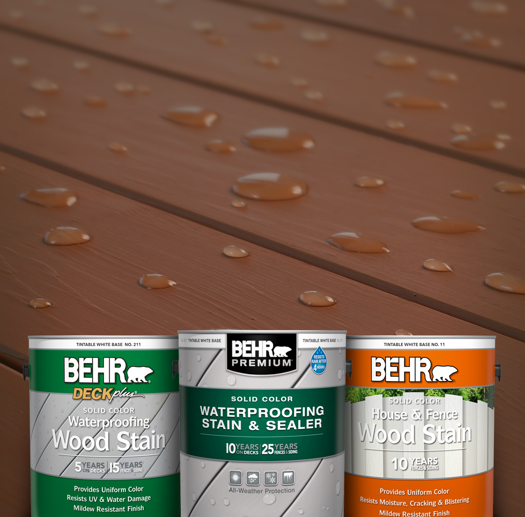 Mobile-sized image of 3 cans of Behr Stain products against a deck background.