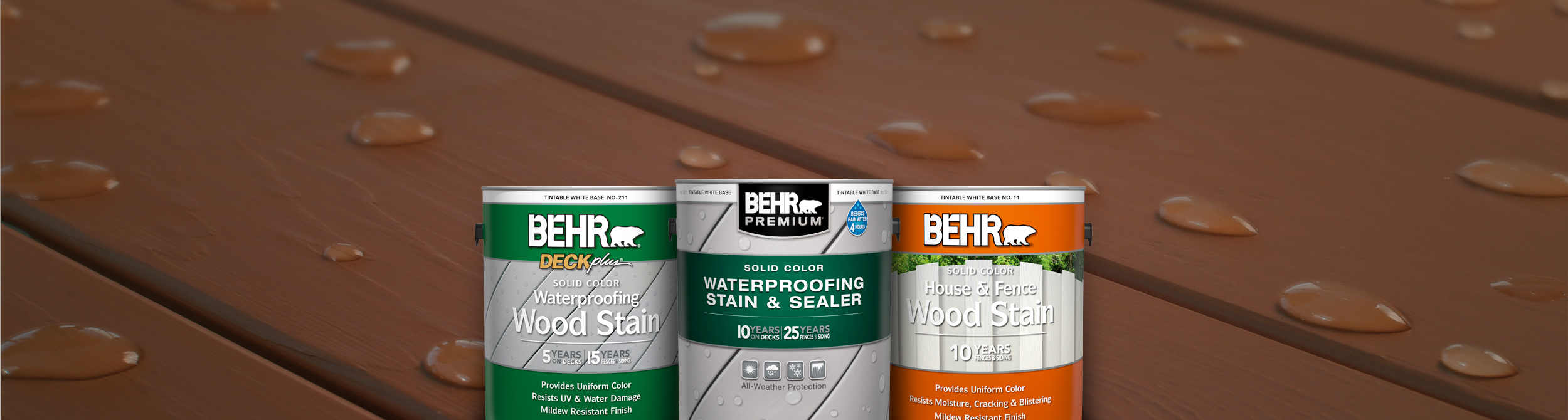 3 cans of Behr Stain products against a deck background.