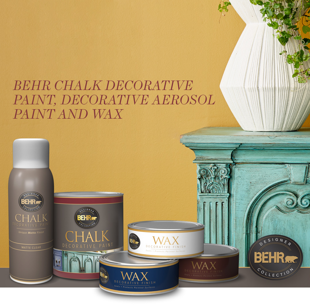 Behr Chalk Decorative Paint and Wax text with a vase sitting on a cabinet and a yellow wall