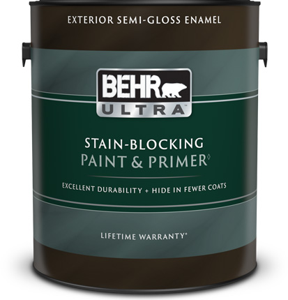 Behr Ultra Exterior Semi-Gloss Enamel Paint and Primer can with a plastic lid