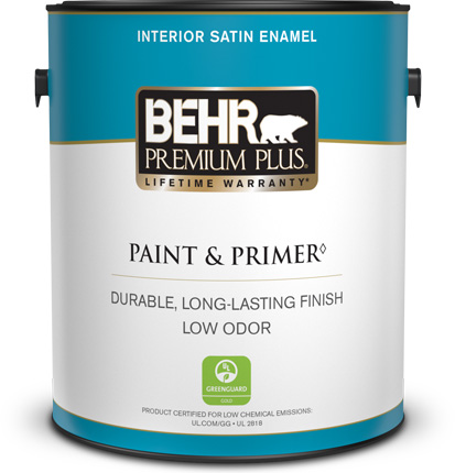 Behr Premium Plus Interior Satin Enamel Paint and Primer can with a plastic lid